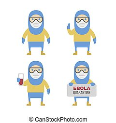 Scientist in Protective Yellow Gear. Cartoon Style Vector Set