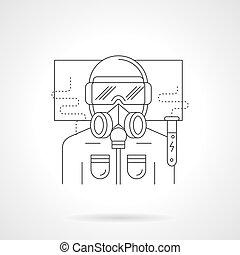 Scientist in safety suit line vector illustration