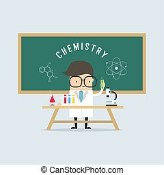 Scientist in school lab coat with chemical glassware.
