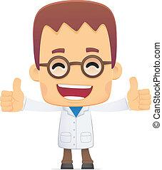 scientist., in, verschieden, posen
