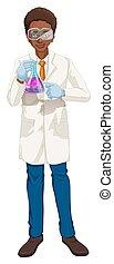 Scientist in white coat holding beaker illustration