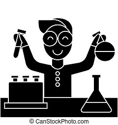 scientist kid, lab tests  icon, vector illustration, sign on isolated background