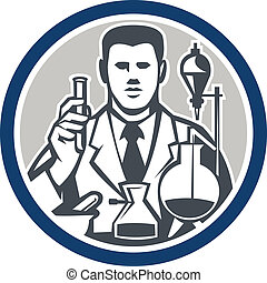 Scientist Lab Researcher Chemist Retro Circle - Illustration...