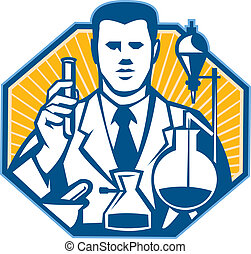Illustration of scientist laboratory researcher chemist holding test tube flask done in retro style.