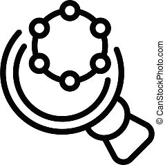 Scientist magnifier icon, outline style