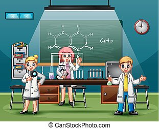 Scientist male and female making research and experiments at science lab interior