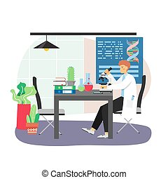 Science research laboratory scene. Scientist male character studying dna molecule with microscope sitting at table with lab flasks, flat vector illustration. Science and education.