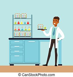 Scientist man conducting research in a lab, interior of science laboratory, vector Illustration