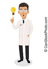 Scientist man. Handsome cartoon character