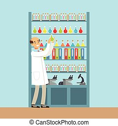 Scientist man working research in chemical lab, interior of science laboratory, vector Illustration