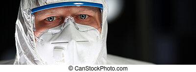 Scientist Man Working Sterile Laboratory Portrait. Lab ...