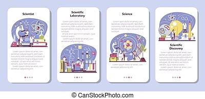 Scientist mobile application banner set. Idea of education ...