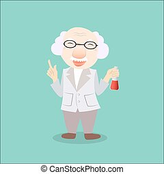 Scientist Or Professor Holding Flask with clipboard, vector