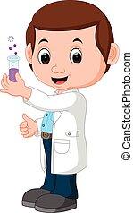 Scientist or professor holding flask