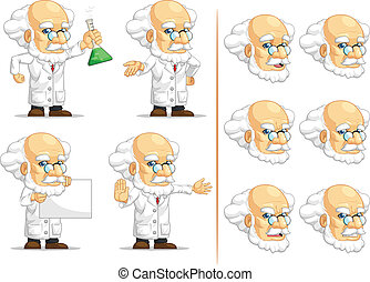 Scientist or Professor Mascot 10 - A vector set of...