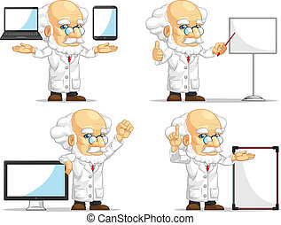 Scientist or Professor Mascot 14 - A vector set of...