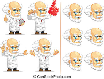 Scientist or Professor Mascot 4 - A vector set of...