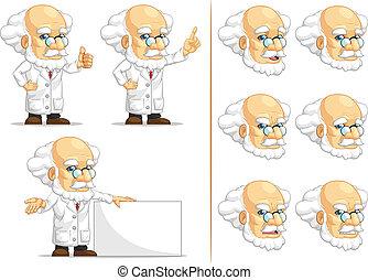 Scientist or Professor Mascot 6 - A vector set of...