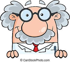 Scientist Or Professor Over Sign Cartoon Character