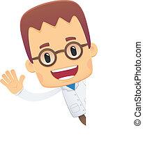 scientist., posturas, vario