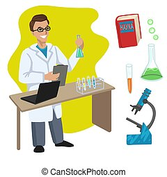 Scientist. Professions, character and items for his work. Children education. Exercise for preschoolers. Vector flat cartoon illustration.
