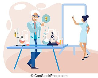 Scientist professor in laboratory at work. Flat style. Cartoon vector illustration