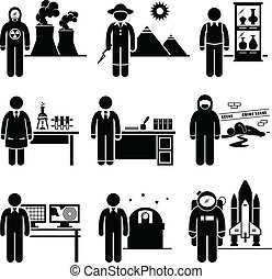 Scientist Professor Jobs Occupation - A set of pictograms...