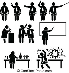 Scientist Professor Science Lab - A set of pictograms ...
