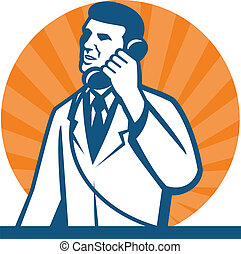 Illustration of a scientist researcher lab technician wearing white coat talking on telephone done in retro style.