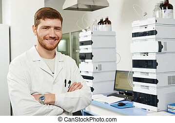 Scientist researcher man in laboratory - researcher man at...