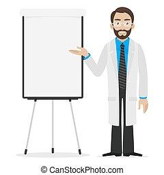 Scientist specifies on flip chart - Illustration scientist...