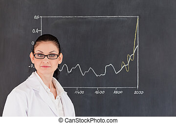 Scientist standing near the blackboard and looking at the camera
