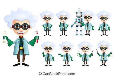 Scientist vector character set. Old genius male inventor holding test tube with various gestures