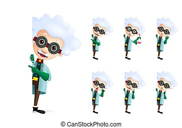 Scientist vector character set showing empty white space or blank board for text