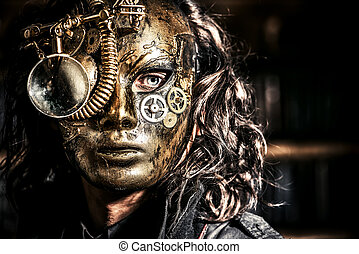 scientist vintage - Steampunk man wearing mask with various...