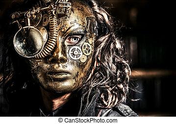 scientist vintage - Steampunk man wearing mask with various...