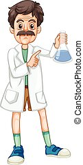 Scientist with chemical in hand