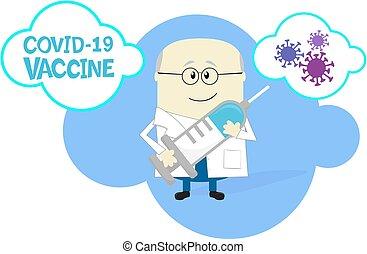 scientist with COVID19 vaccine