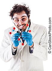Scientist with tnt molecular structure