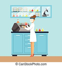 Scientist woman conducting research in a lab, interior of science laboratory, vector Illustration