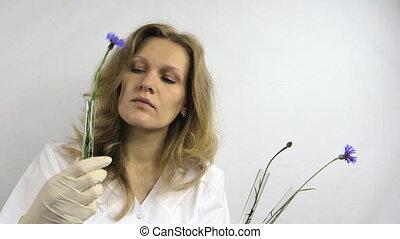 scientist woman flask