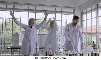 Scientist work with science equipment in laboratory. Scientific research concept
