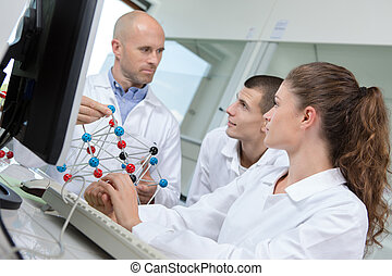 scientist working attentively with laptop and dna model in laboratory