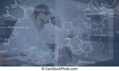 Scientist working in a laboratory with data and structural formula of chemical compounds