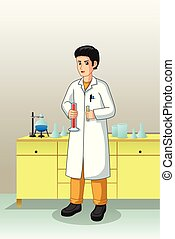 Scientist Working in Laboratory Illustration