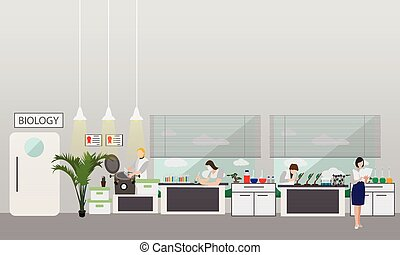Scientist working in laboratory vector illustration. Science lab interior. Biology education concept. Male and female engineers making research experiments