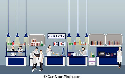 Scientist working in laboratory vector illustration. Science lab interior. Chemistry education concept. Male and female engineers making research experiments