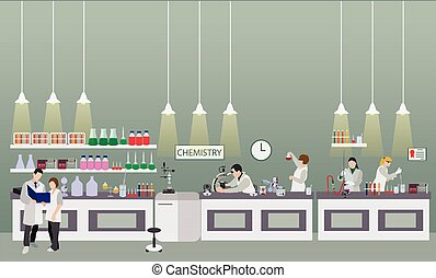 Scientist working in laboratory vector illustration. Science lab interior. Chemistry education concept.