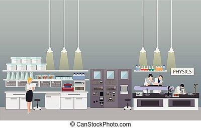 Scientist working in laboratory vector illustration. Science lab interior. Physics education concept.