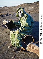 Scientist working with computer - infected area